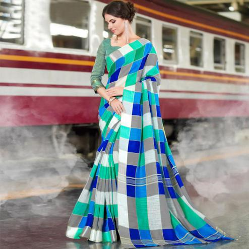Dazzling Green Colored Casual Printed Bhagalpuri Silk Saree