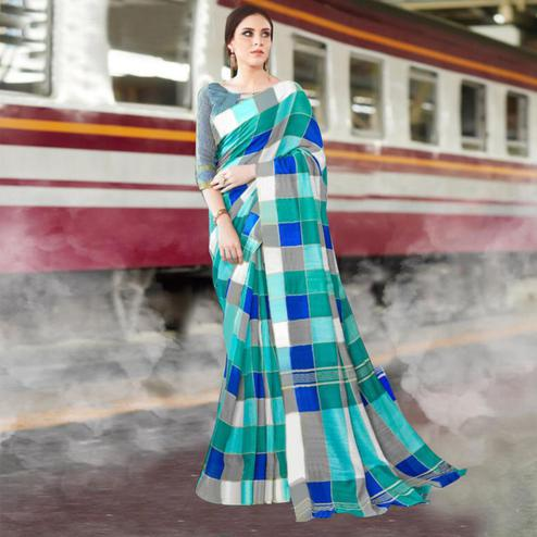 Flattering Dark Green Colored Casual Printed Bhagalpuri Silk Saree
