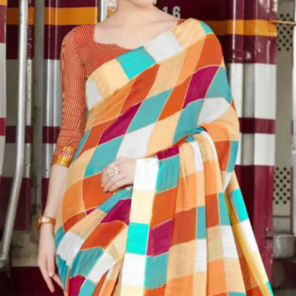 Breathtaking Rust Orange Colored Casual Printed Bhagalpuri Silk Saree