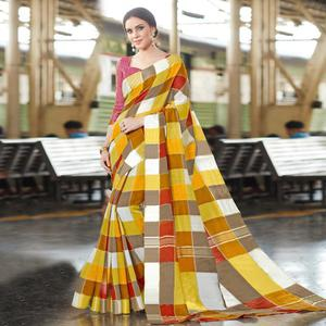 Impressive Mustard Yellow Colored Casual Printed Bhagalpuri Silk Saree