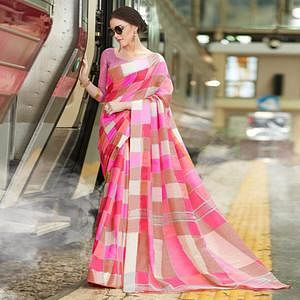 Gleaming Light Pink Colored Casual Printed Bhagalpuri Silk Saree
