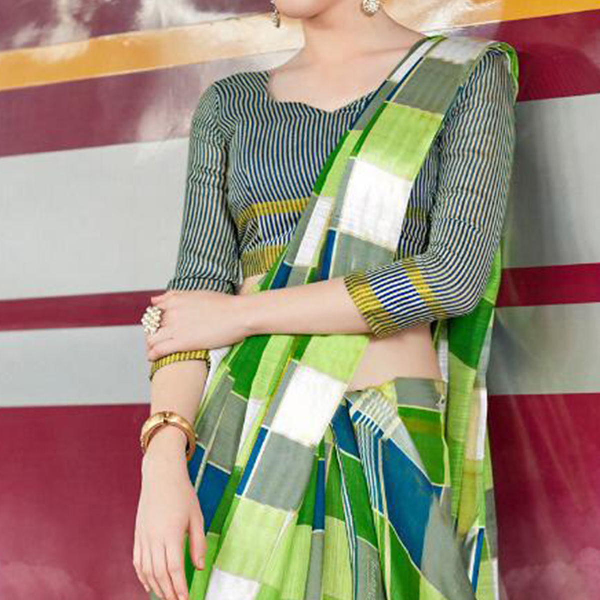 Arresting Light Green Colored Casual Printed Bhagalpuri Silk Saree