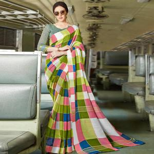 Exceptional Dark Green Colored Casual Printed Bhagalpuri Silk Saree