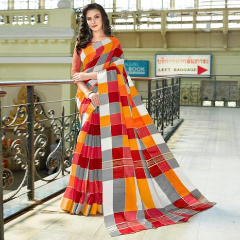 Excellent Red-Orange Colored Casual Printed Bhagalpuri Silk Saree
