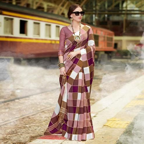 Ethnic Mauve Colored Casual Printed Bhagalpuri Silk Saree