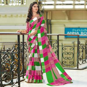 Starring Pink-Green Colored Casual Printed Bhagalpuri Silk Saree