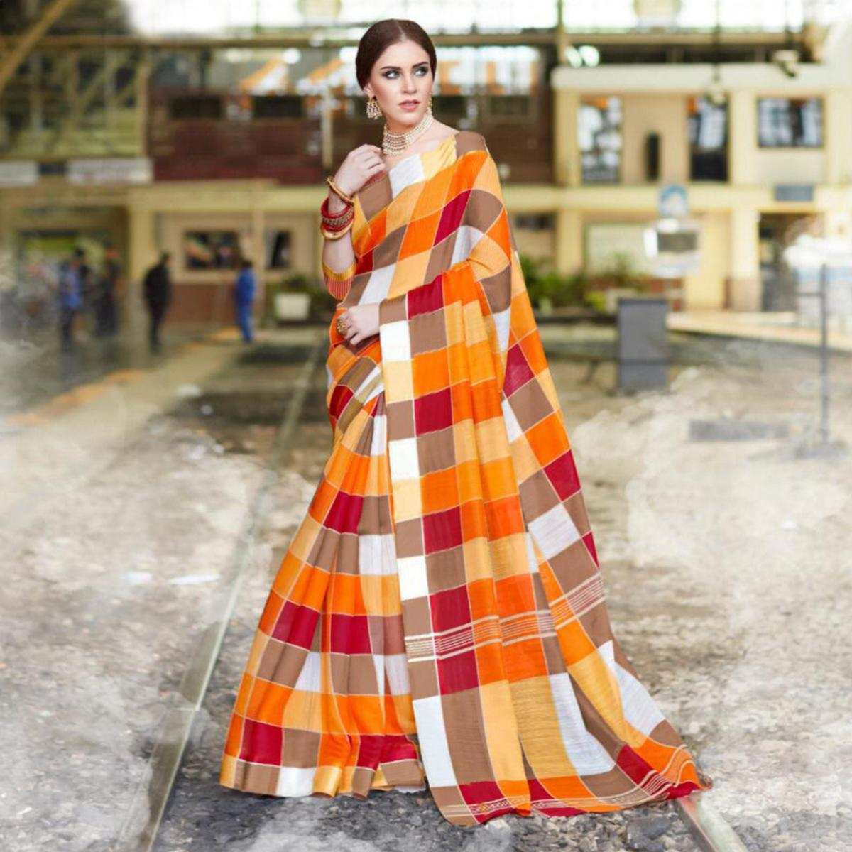 Glowing Light Orange Colored Casual Printed Bhagalpuri Silk Saree