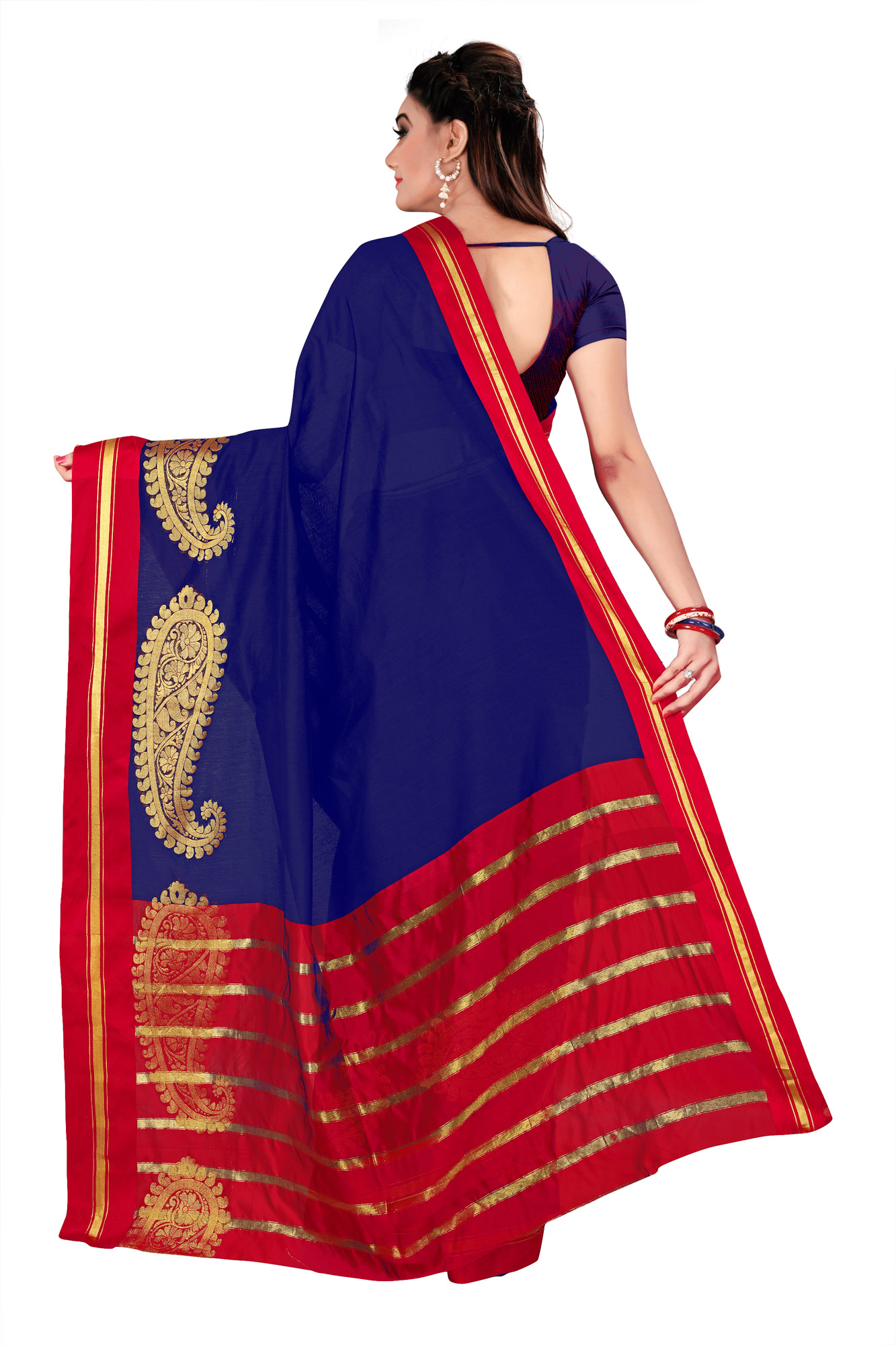 Blue Festive wear Designer Cotton Silk Saree
