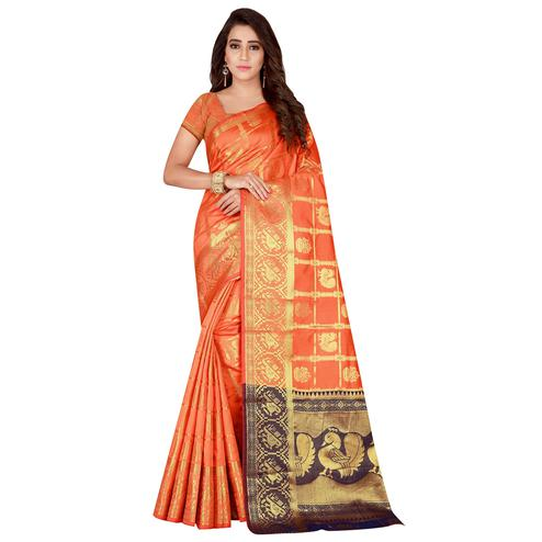 Charming Orange Colored Festive Wear Woven Art Silk Saree
