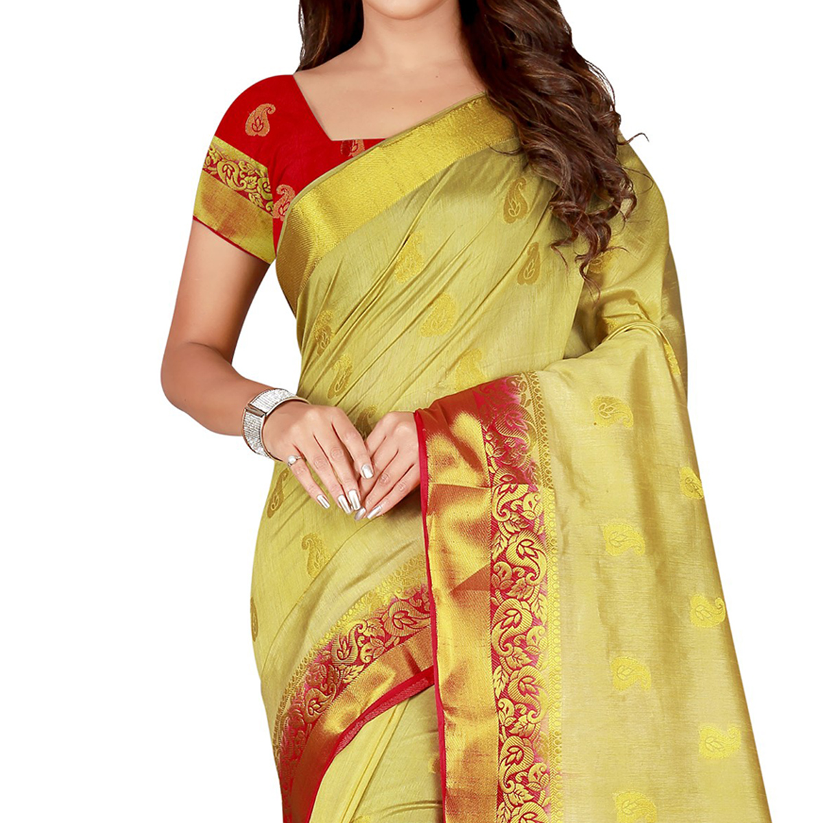 Ravishing Cream & Red Colored Festive Wear Woven Cotton Silk Saree