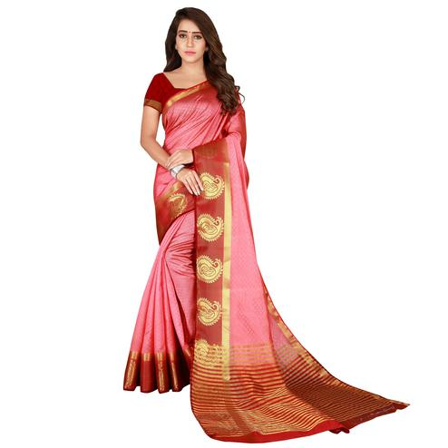 Delightful Pink & Maroon Colored Festive Wear Woven Cotton Silk Saree