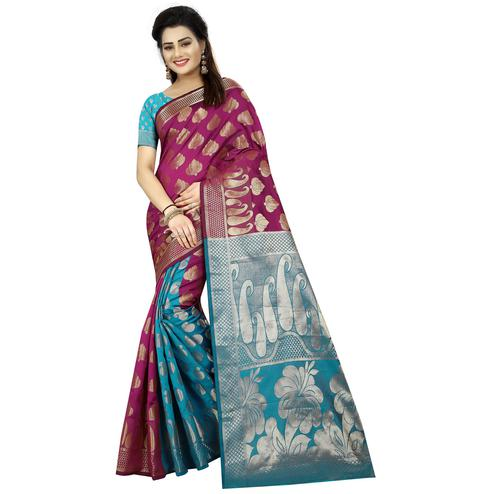 Stunning Purple & Blue Colored Festive Wear Woven Jacquard Silk Saree