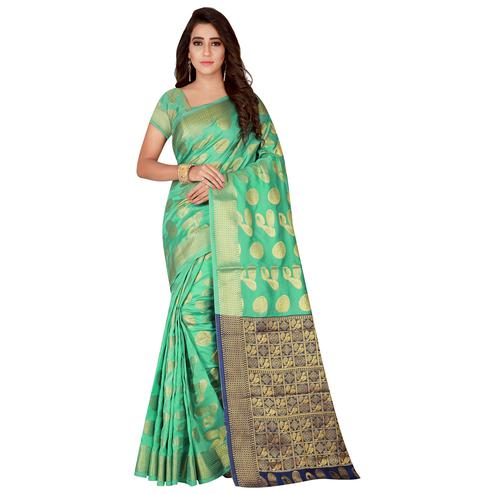 Marvellous Sea Green Colored Festive Wear Woven Art Silk Saree