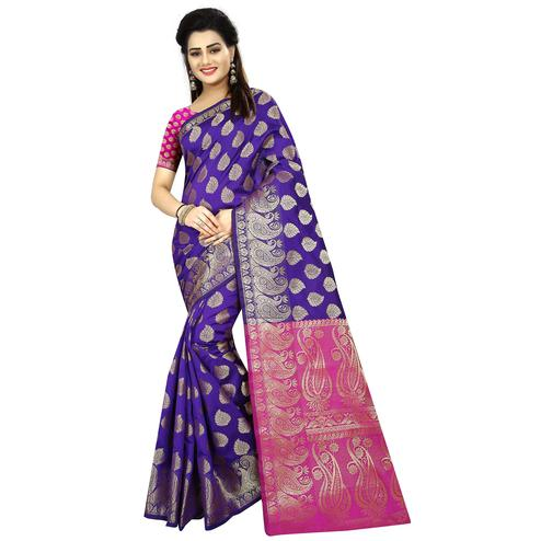 Opulent Violet Colored Festive Wear Woven Jacquard Silk Saree