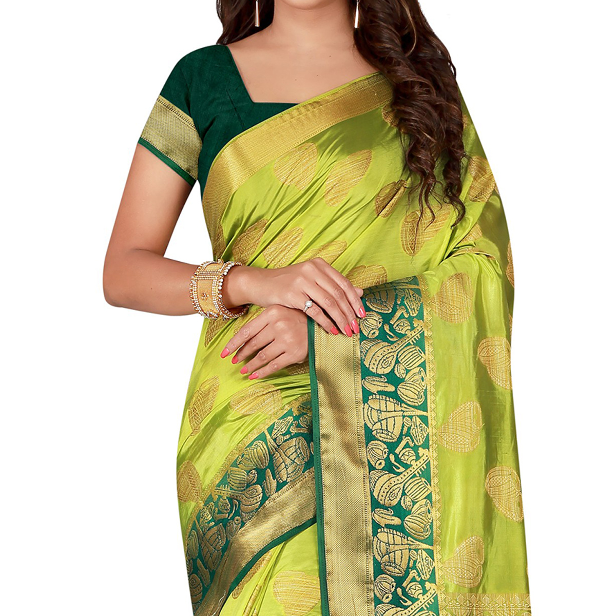 Dazzling Parrot Green Colored Festive Wear Woven Cotton Silk Saree
