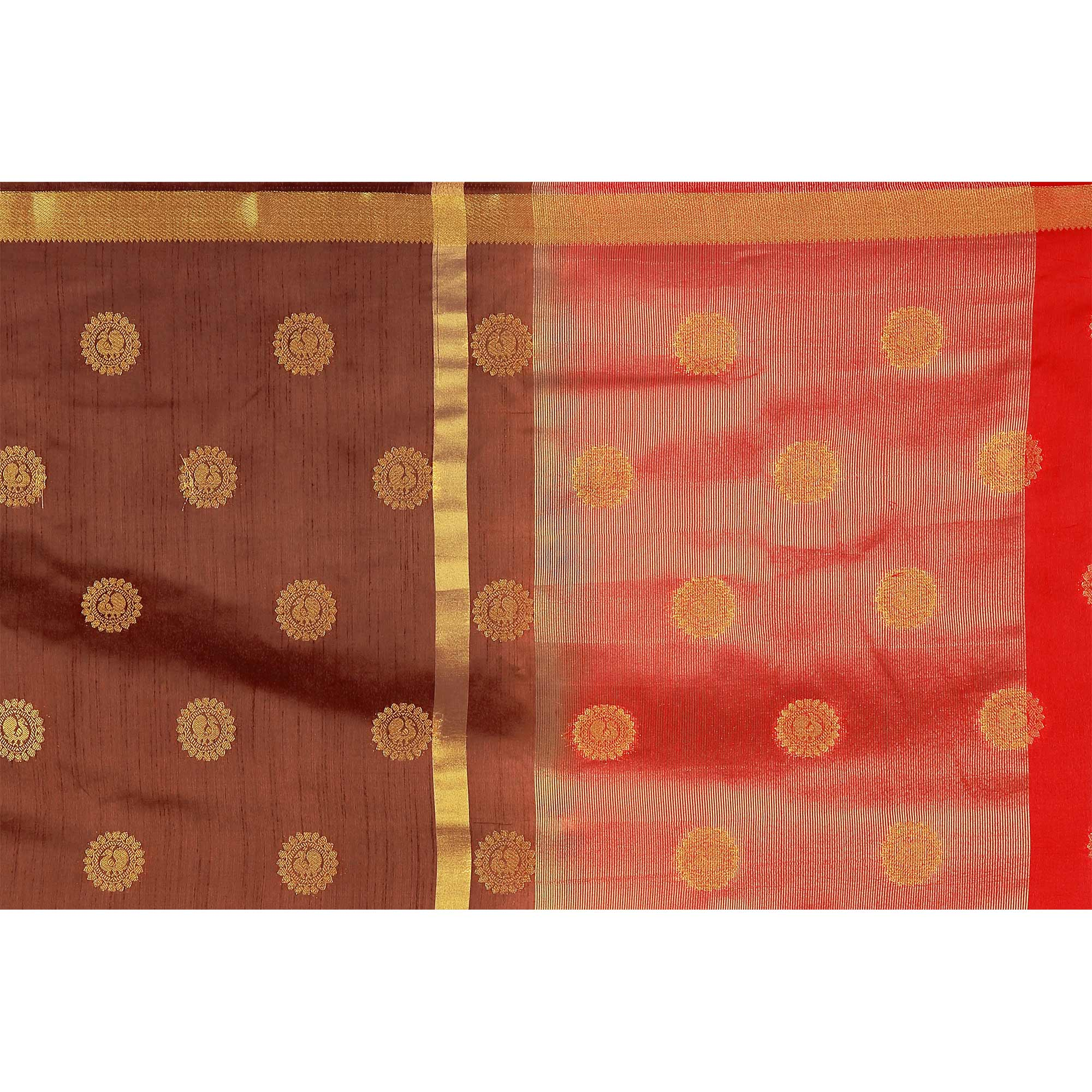 Flattering Brown & Red Colored Festive Wear Woven Cotton Silk Saree