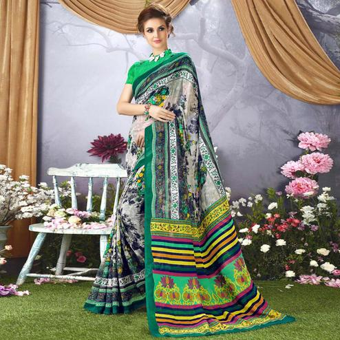 Intricate Grey - Green Colored Casual Wear Printed Faux Georgette Saree