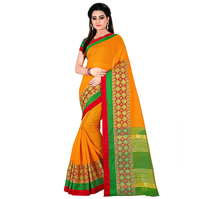 Orange Festive wear Designer Cotton Silk Saree