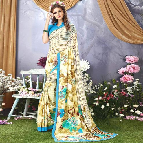 Desirable Off White Colored Casual Wear Printed Faux Georgette Saree