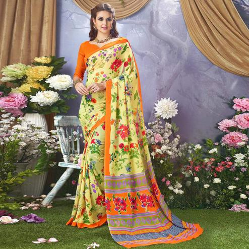 Radiant Light yellow Colored Casual Wear Printed Faux Georgette Saree