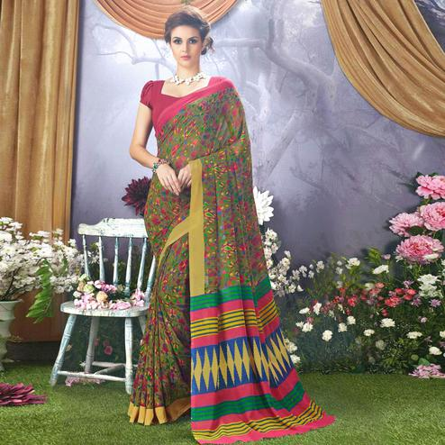 Opulent Green Colored Casual Wear Printed Faux Georgette Saree