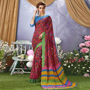 Dazzling Pink Colored Casual Wear Printed Faux Georgette Saree