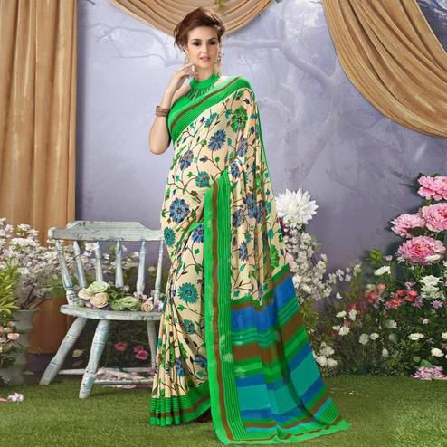 Flattering Off White - Green Colored Casual Wear Printed Faux Georgette Saree