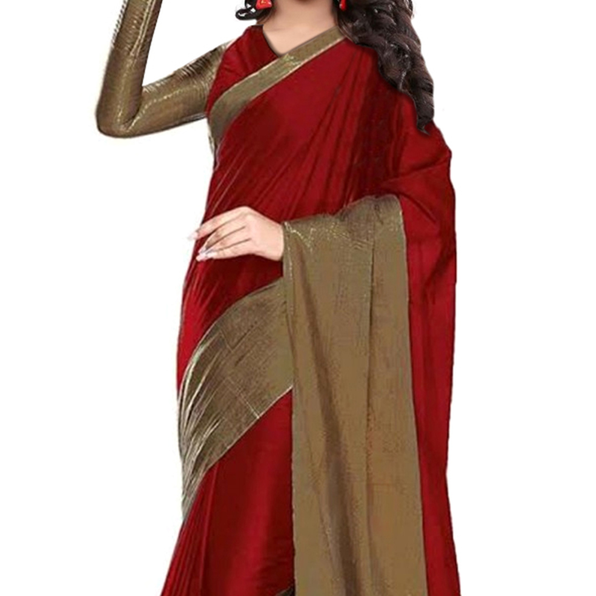 Red Cotton Weaved Saree