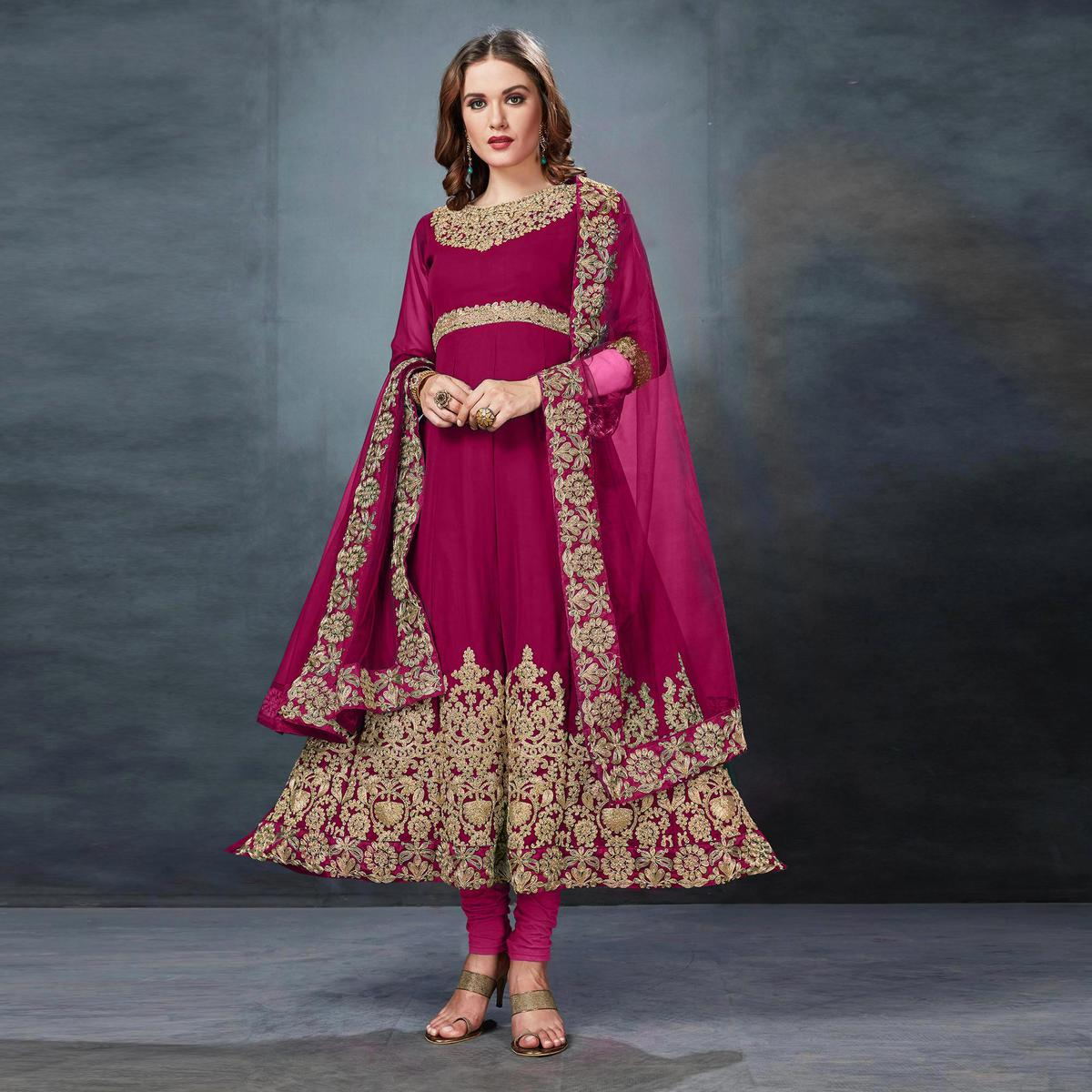 Stunning Pink Colored Partywear Embroidered Georgette Anarkali Suit
