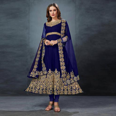 Desirable Blue Colored Partywear Embroidered Georgette Anarkali Suit