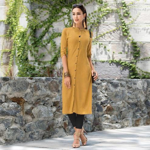 Graceful Dark Yellow Colored Casual Wear Rayon Kurti