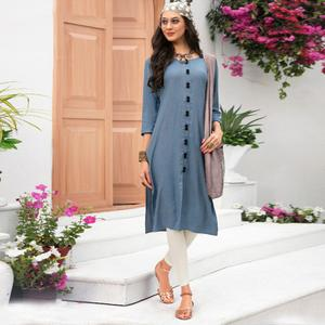 Lovely Grey Colored Casual Wear Rayon Kurti