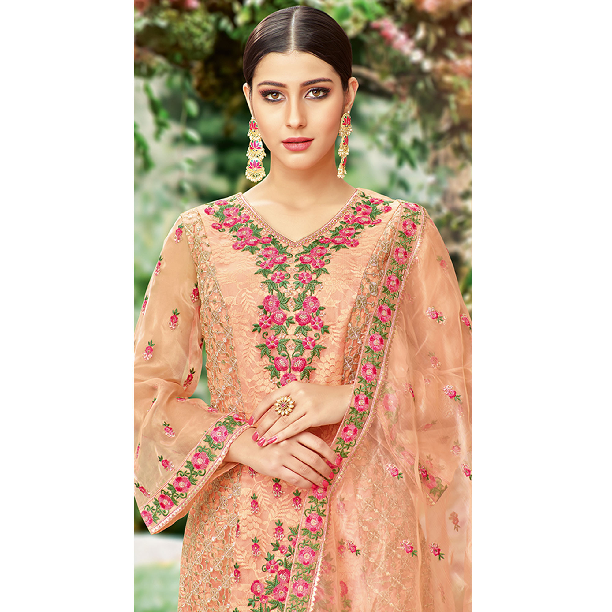 Refreshing Peach Colored Party Wear Embroidered Tissue Suit