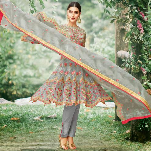 Elegant Grey Colored Party Wear Embroidered Tissue Anarkali Suit