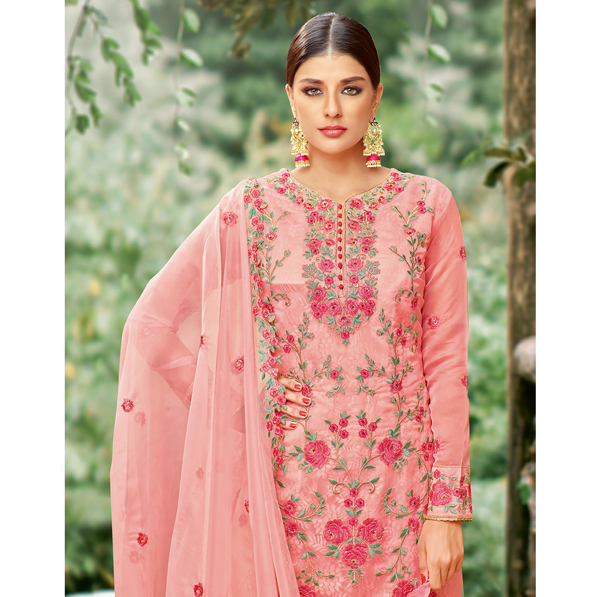 Alluring Pink Colored Party Wear Embroidered Tissue Palazzo Suit