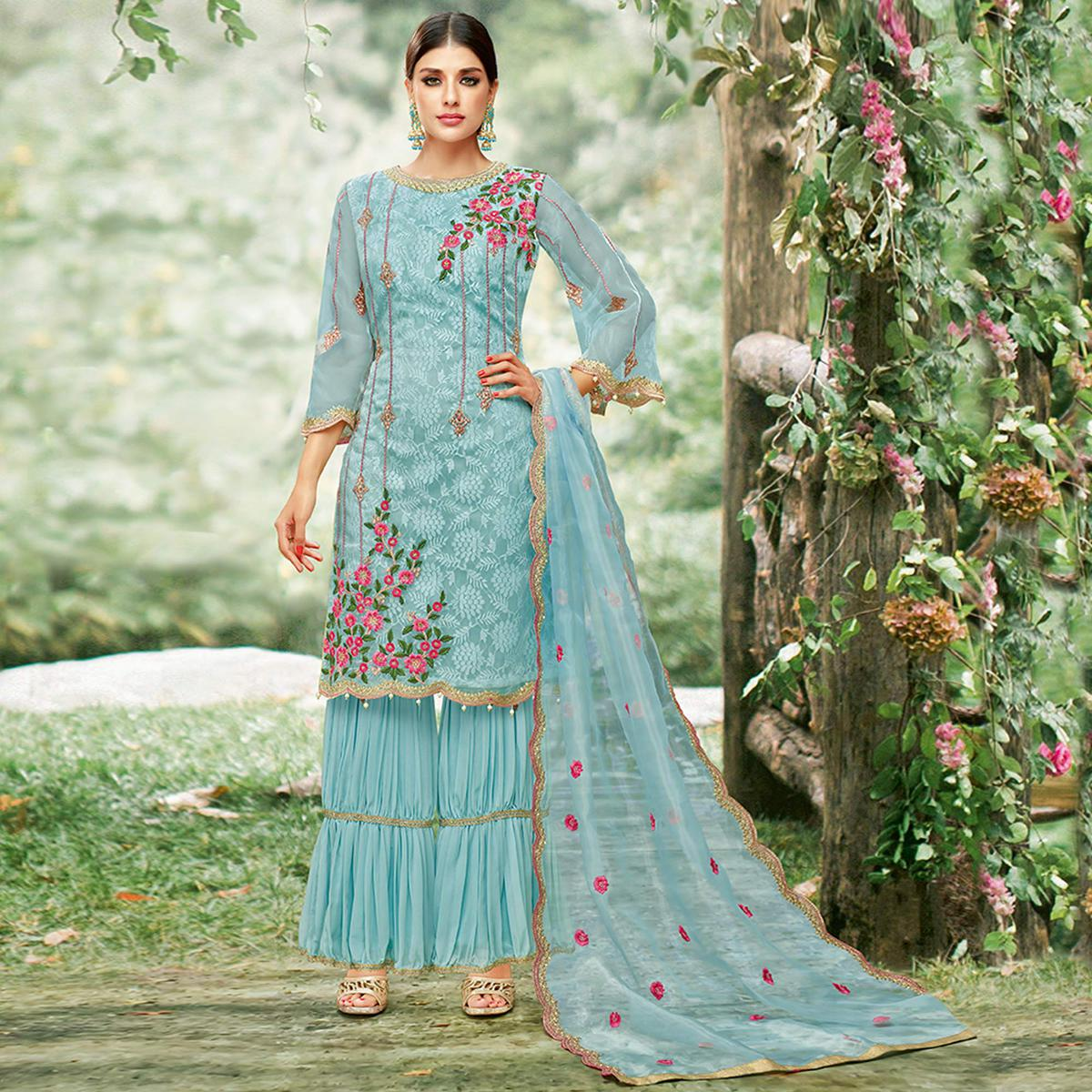 Radiant Sky Blue Colored Party Wear Embroidered Tissue Palazzo Suit