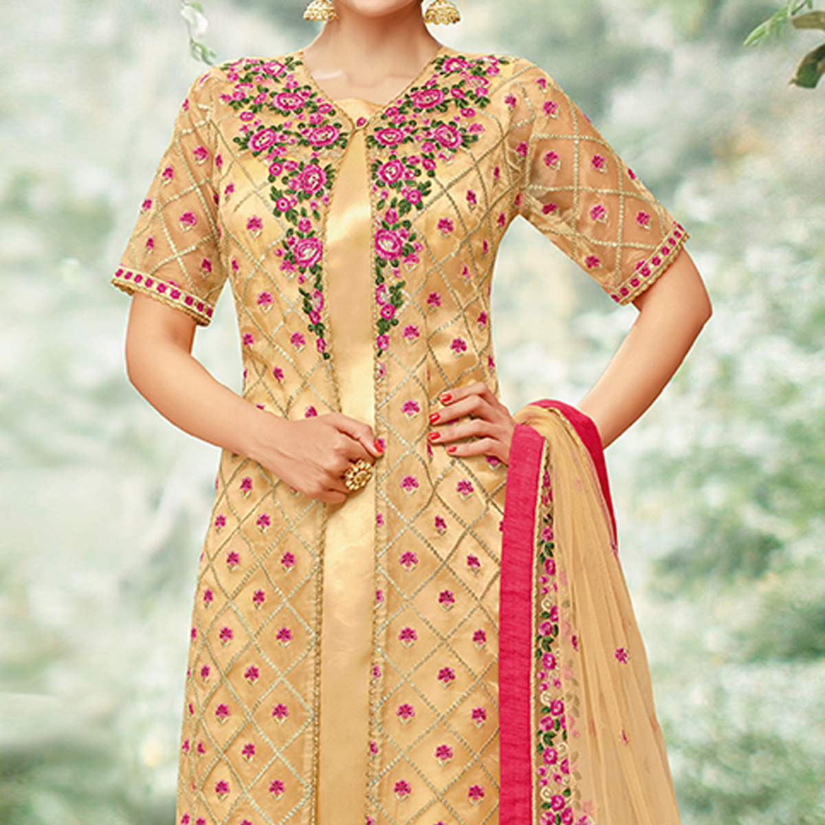 Sensational Golden Colored Party Wear Embroidered Tissue Suit