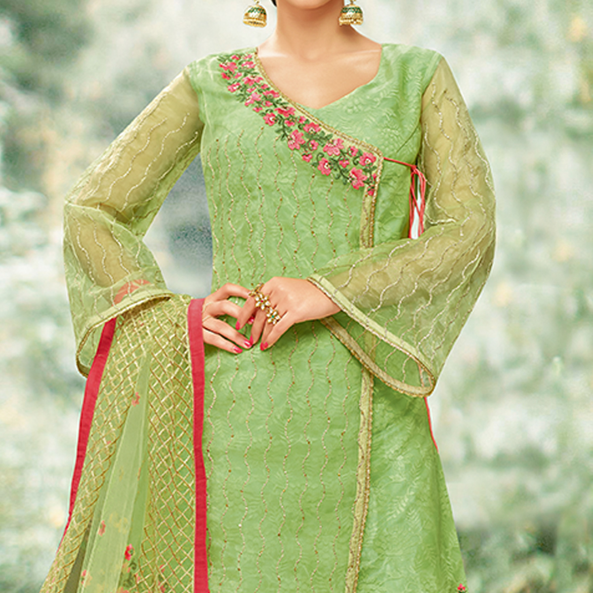 Opulent Green Colored Party Wear Embroidered Tissue Palazzo Suit