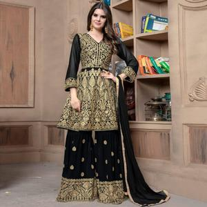 Stunning Black Colored Partywear Embroidered Faux Georgette Palazzo Suit