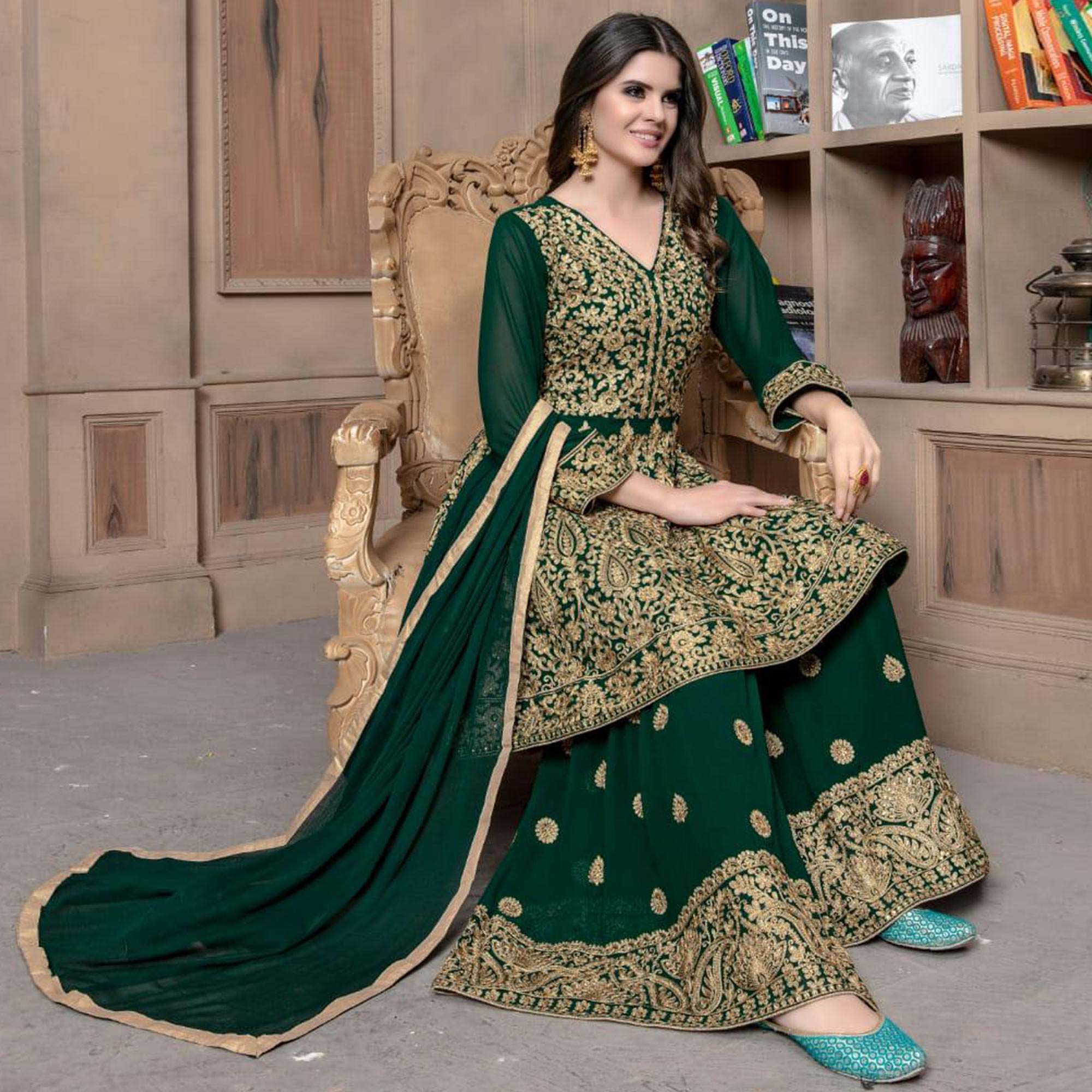 Fantastic Green Colored Partywear Embroidered Faux Georgette Palazzo Suit