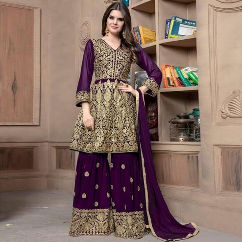 Blooming Violet Colored Partywear Embroidered Faux Georgette Palazzo Suit