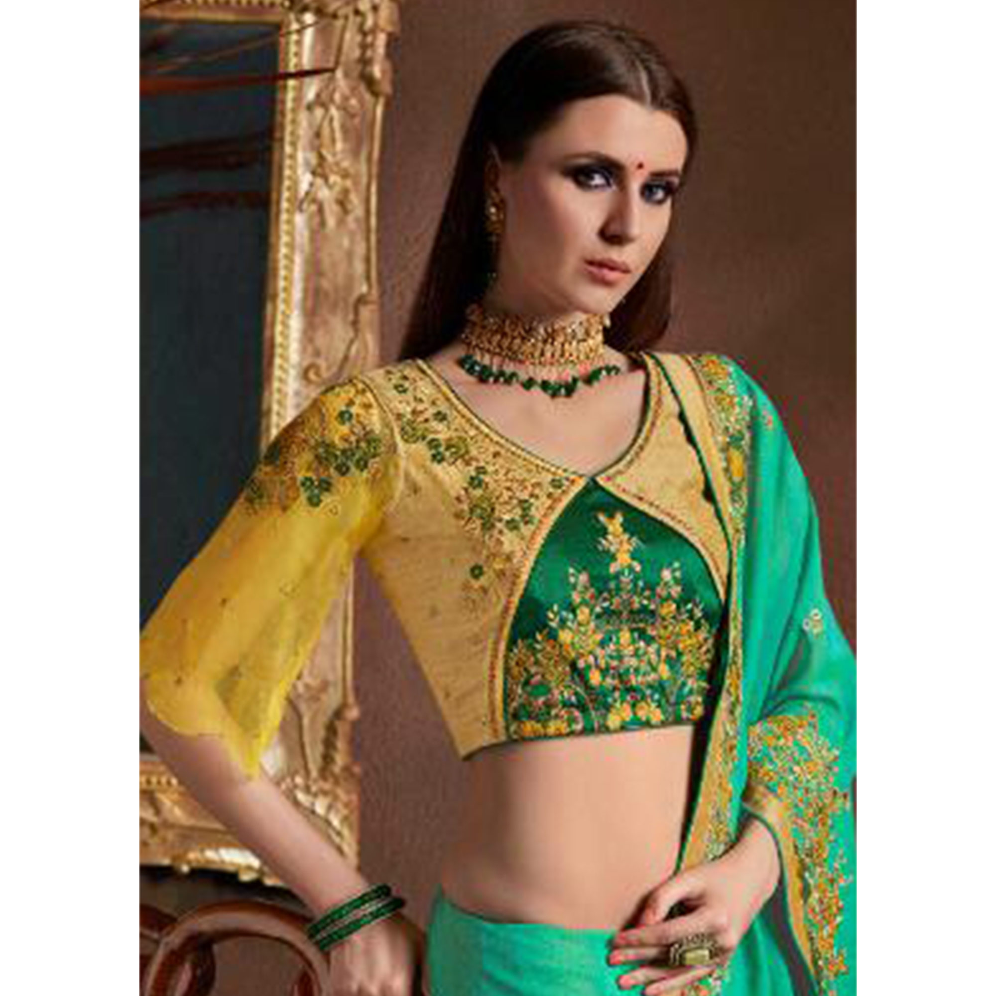 Pleasant Turquoise Green Colored Party Wear Embroidered Georgette Saree