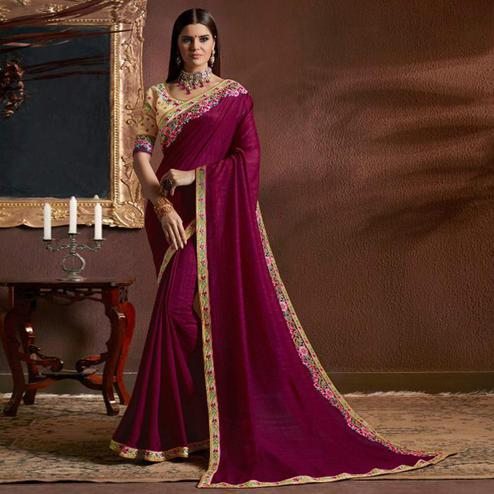 Unique Magenta Pink Colored Party Wear Embroidered Georgette Saree