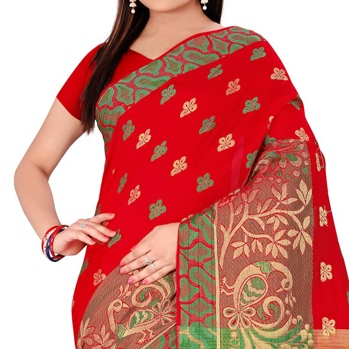 Red Festive wear Designer Cotton Silk Saree