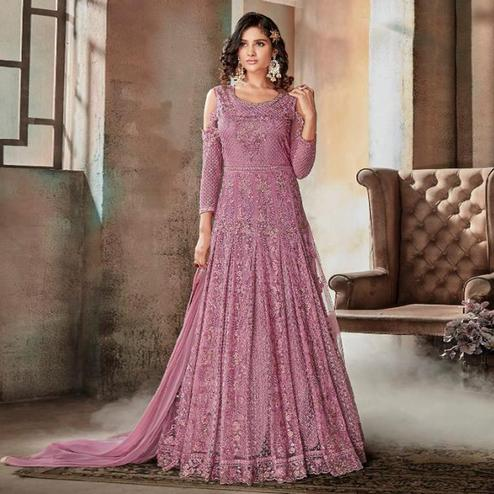 Breathtaking Mauve Pink Colored Party Wear Embroidered Net Anarkali Suit