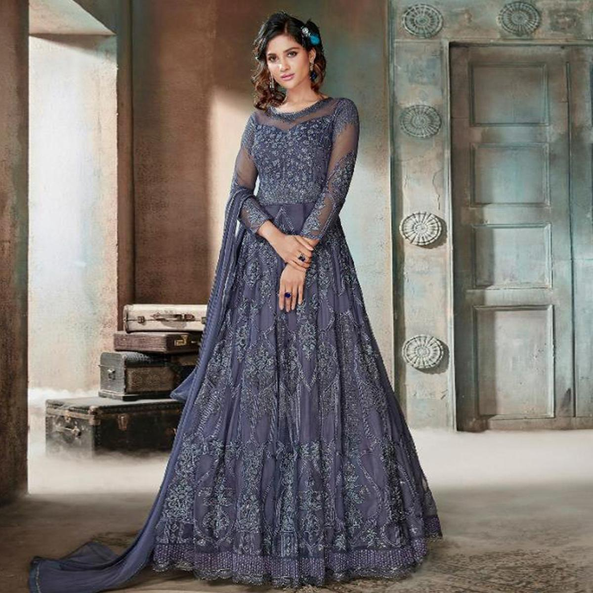 Gleaming Greyish Blue Colored Party Wear Embroidered Net Anarkali Suit