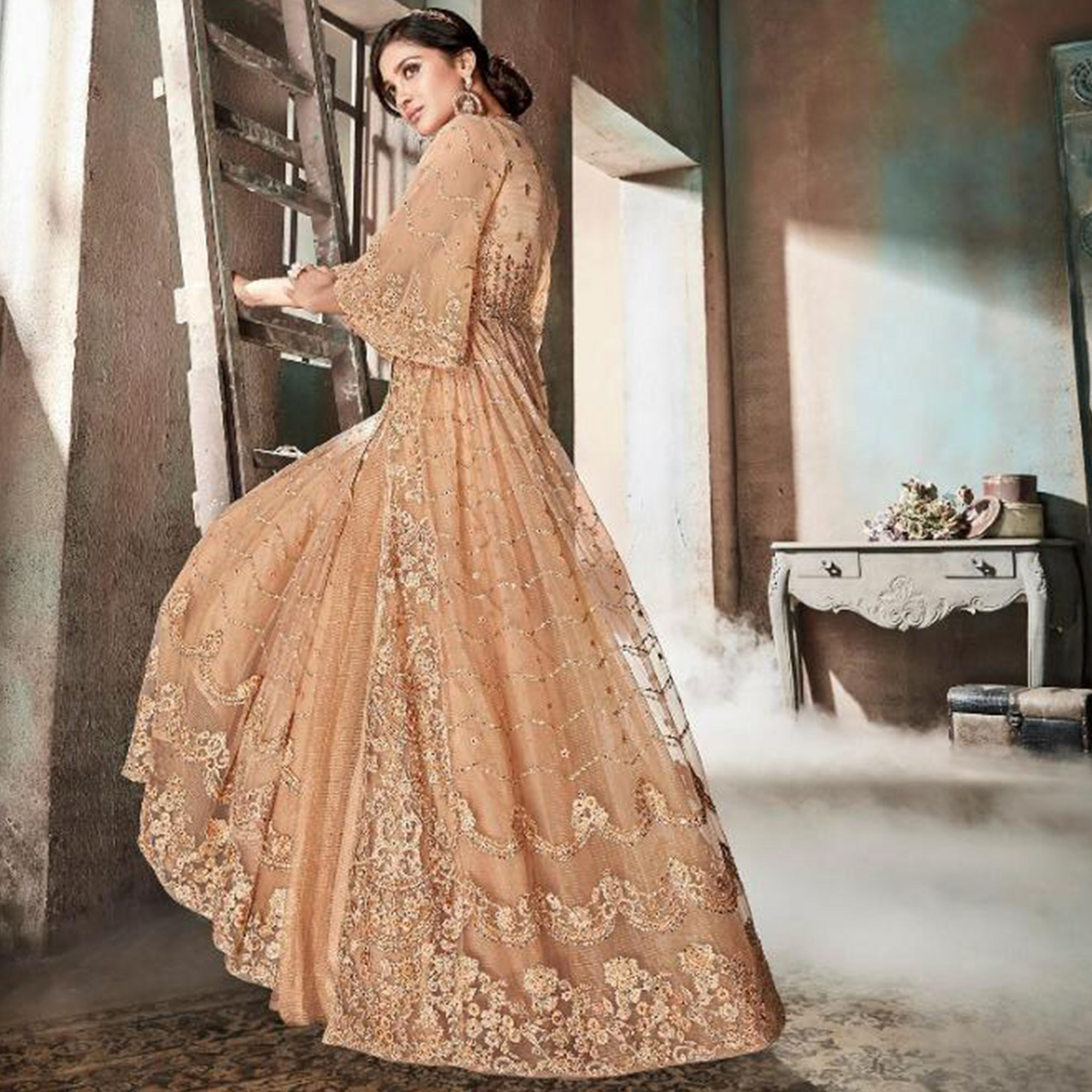 Exceptional Dark Cream Colored Party Wear Embroidered Jacquard & Net Lehenga Suit
