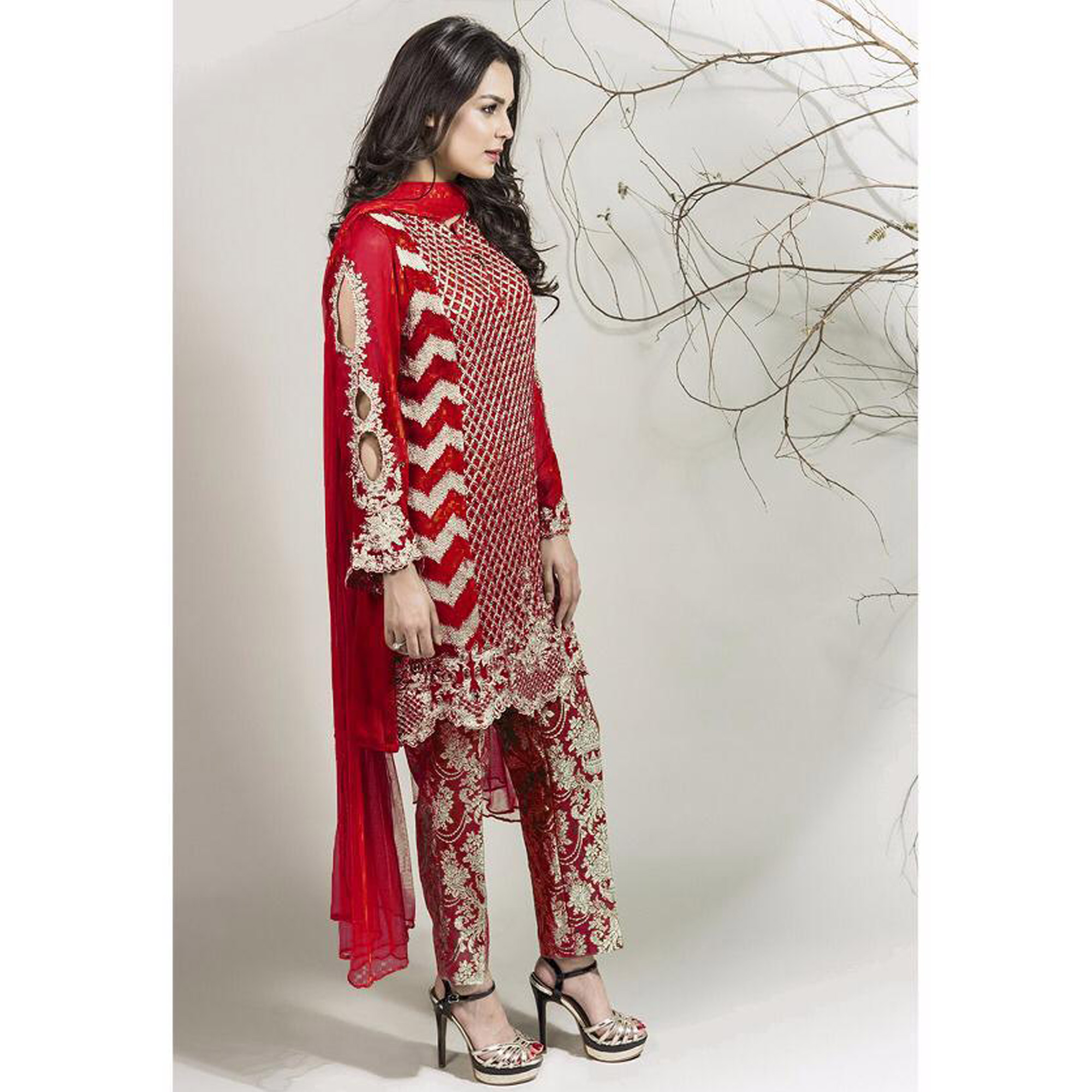 Jazzy Red Colored Partywear Embroidered Georgette Pant Style Suit