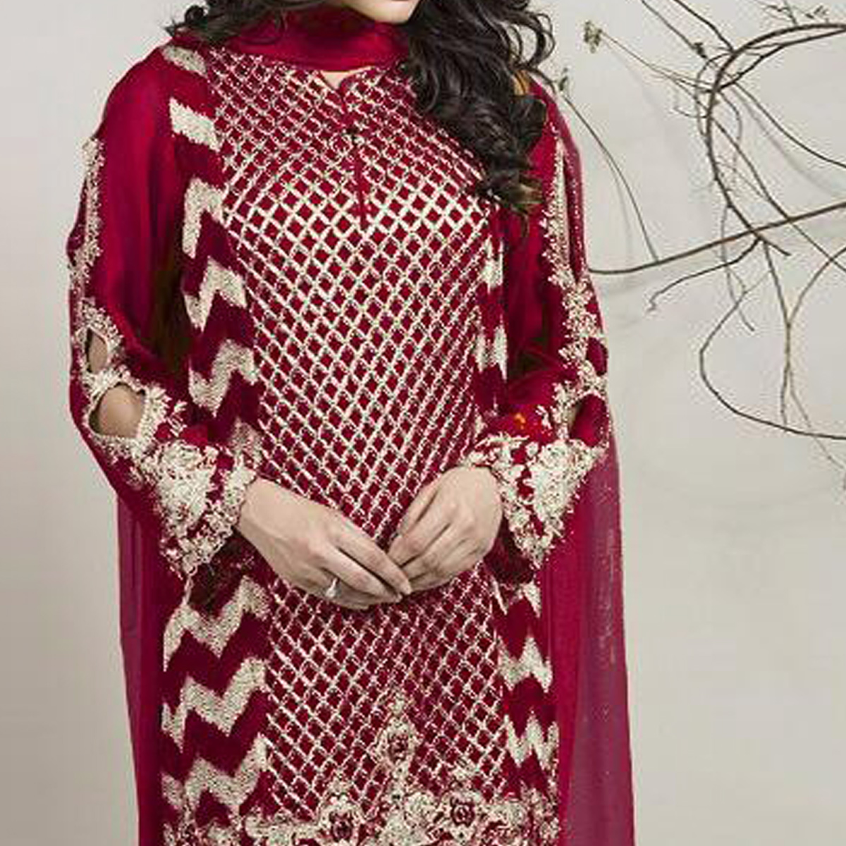Appealing Maroon Colored Partywear Embroidered Georgette Pant Style Suit