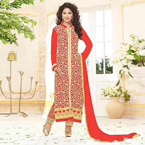Stunning Red Designer Embroidered Georgette Salwar Suit